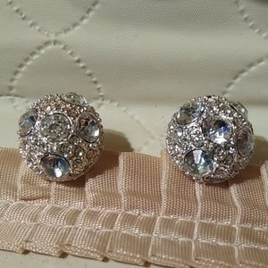 Earrings Vintage Crystal Cluster Round Peirced